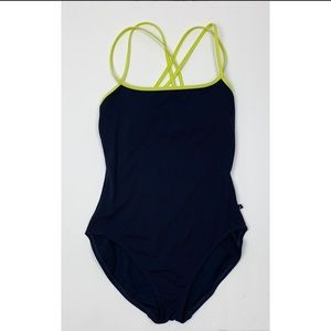 Nautical Classic One Piece Open Back Navy Maillot